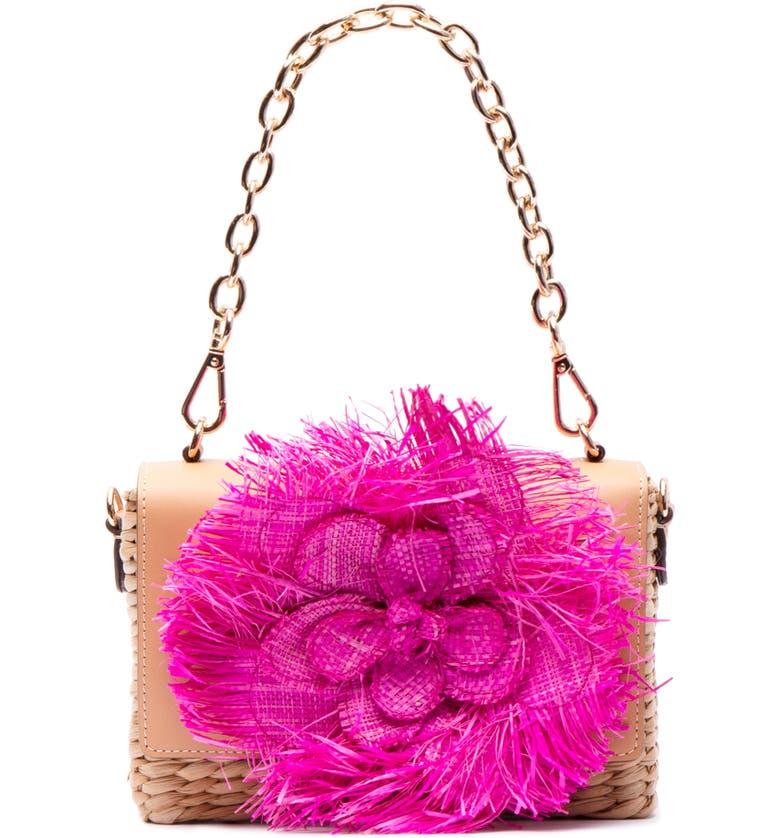 FRANCES VALENTINE Chick Raffia Crossbody Bag, Main, color, PINK