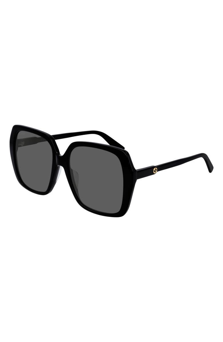 GUCCI 56mm Square Sunglasses, Main, color, SHINY BLACK/ GREY SOLID