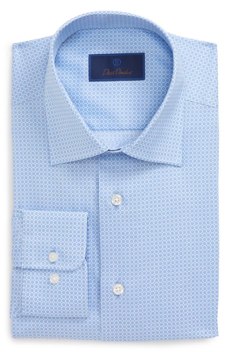 DAVID DONAHUE Regular Fit Geometric Dress Shirt, Main, color, BLUE/ WHITE