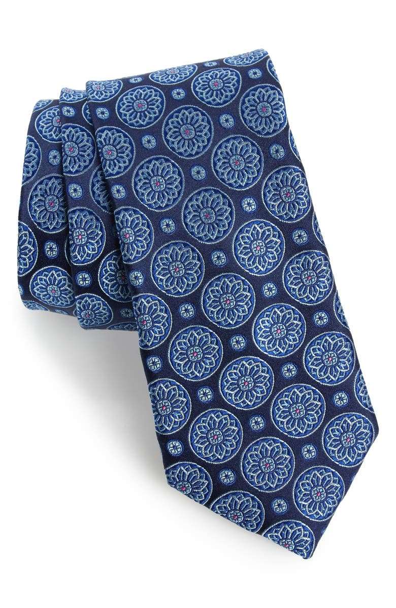 TED BAKER LONDON Floral Medallion Silk Tie, Main, color, BLUE