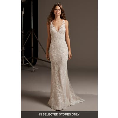 Pronovias Eos Lace Trumpet Wedding Dress, Size - Ivory