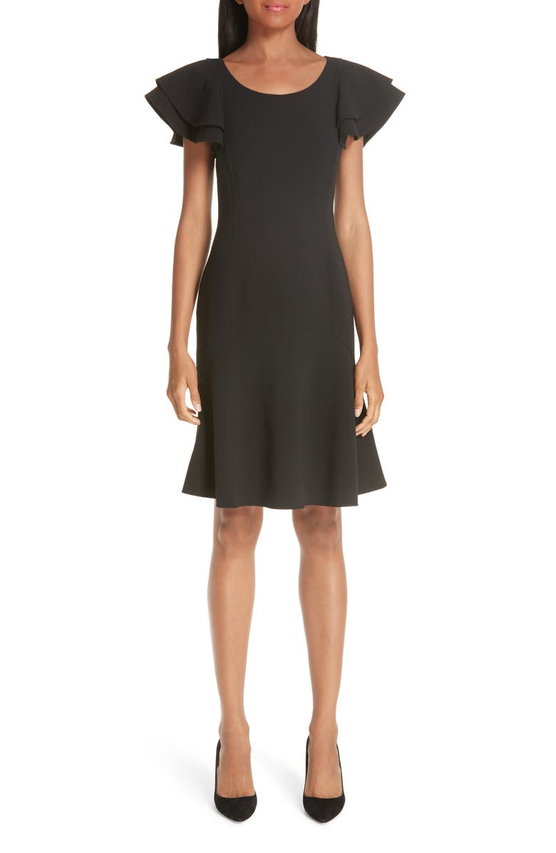 MICHAEL KORS Layered Flutter Sleeve Stretch Wool Crepe Dress, Main, color, 001