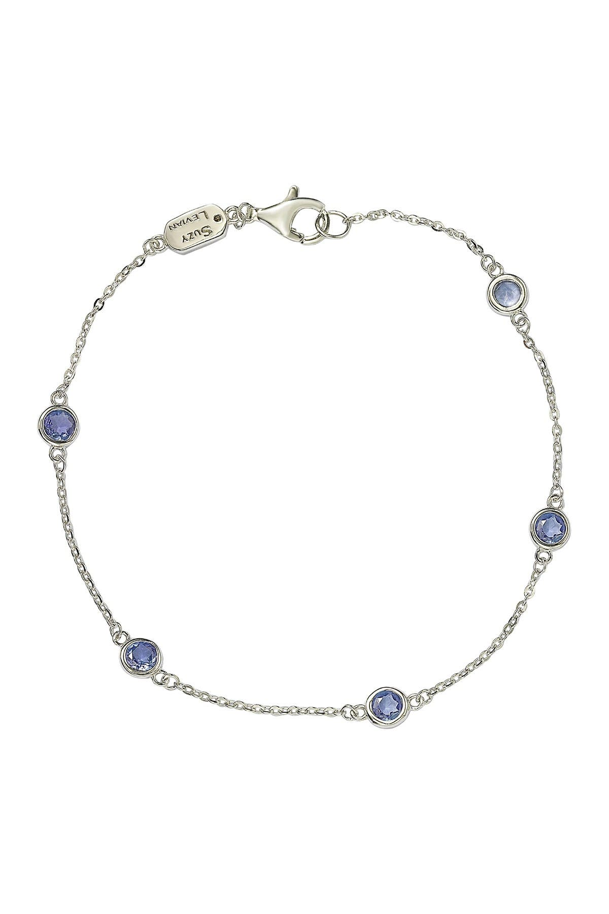 Image of Suzy Levian Sterling Silver Bezel Set Tanzanite Station Bracelet - 0.15 ctw