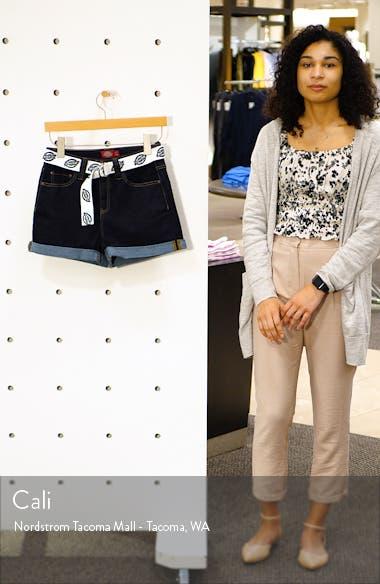 Belted High Waist Denim Mom Shorts, sales video thumbnail