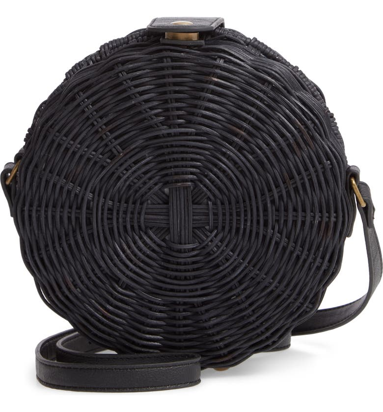 MALI + LILI Hazel Woven Rattan Circle Bag, Main, color, BLACK