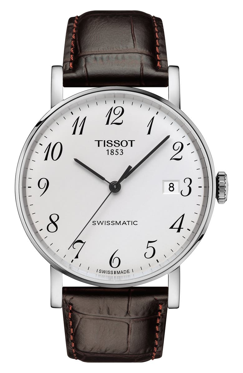 TISSOT Everytime Swissmatic Leather Strap Watch, 40mm, Main, color, BROWN/ SILVER