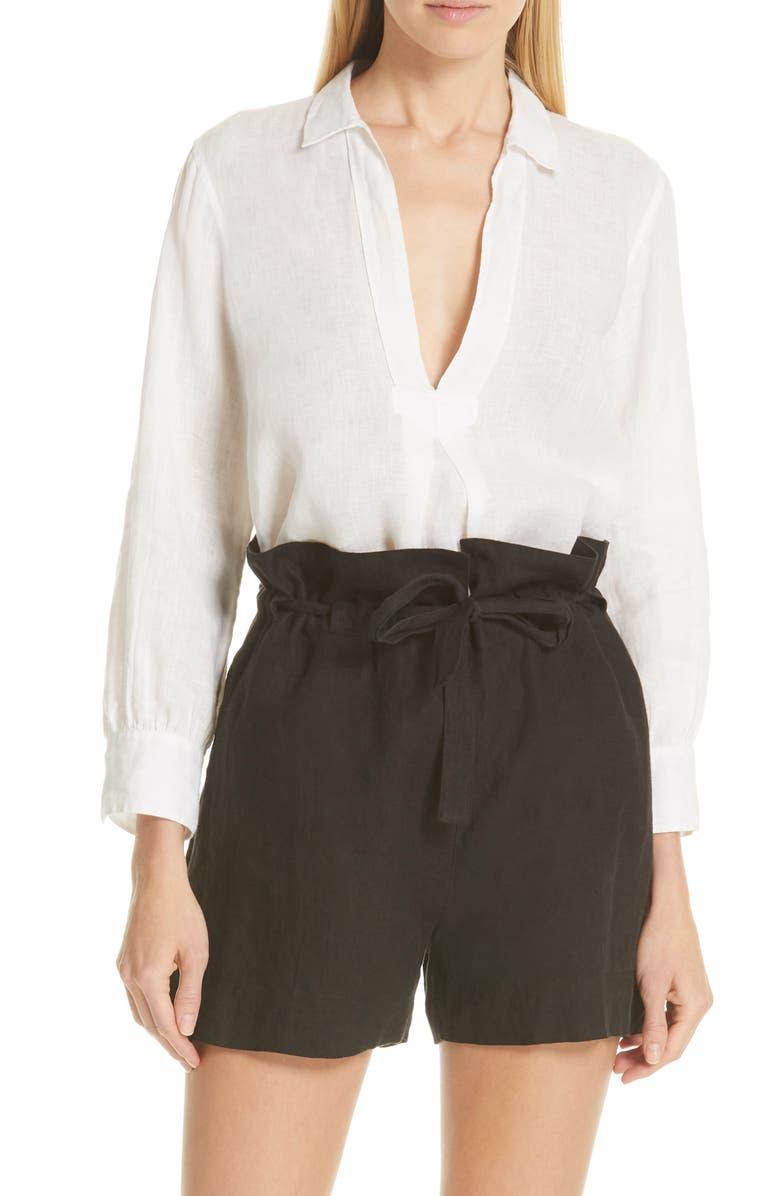 NILI LOTAN Emma Linen Shirt, Main, color, 103