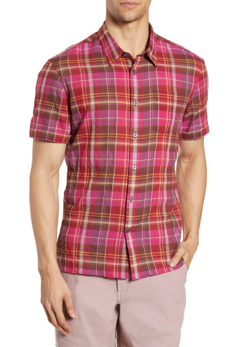 JOHN VARVATOS STAR USA Clyde Slim Fit Plaid Sport Shirt, Main, color, 650