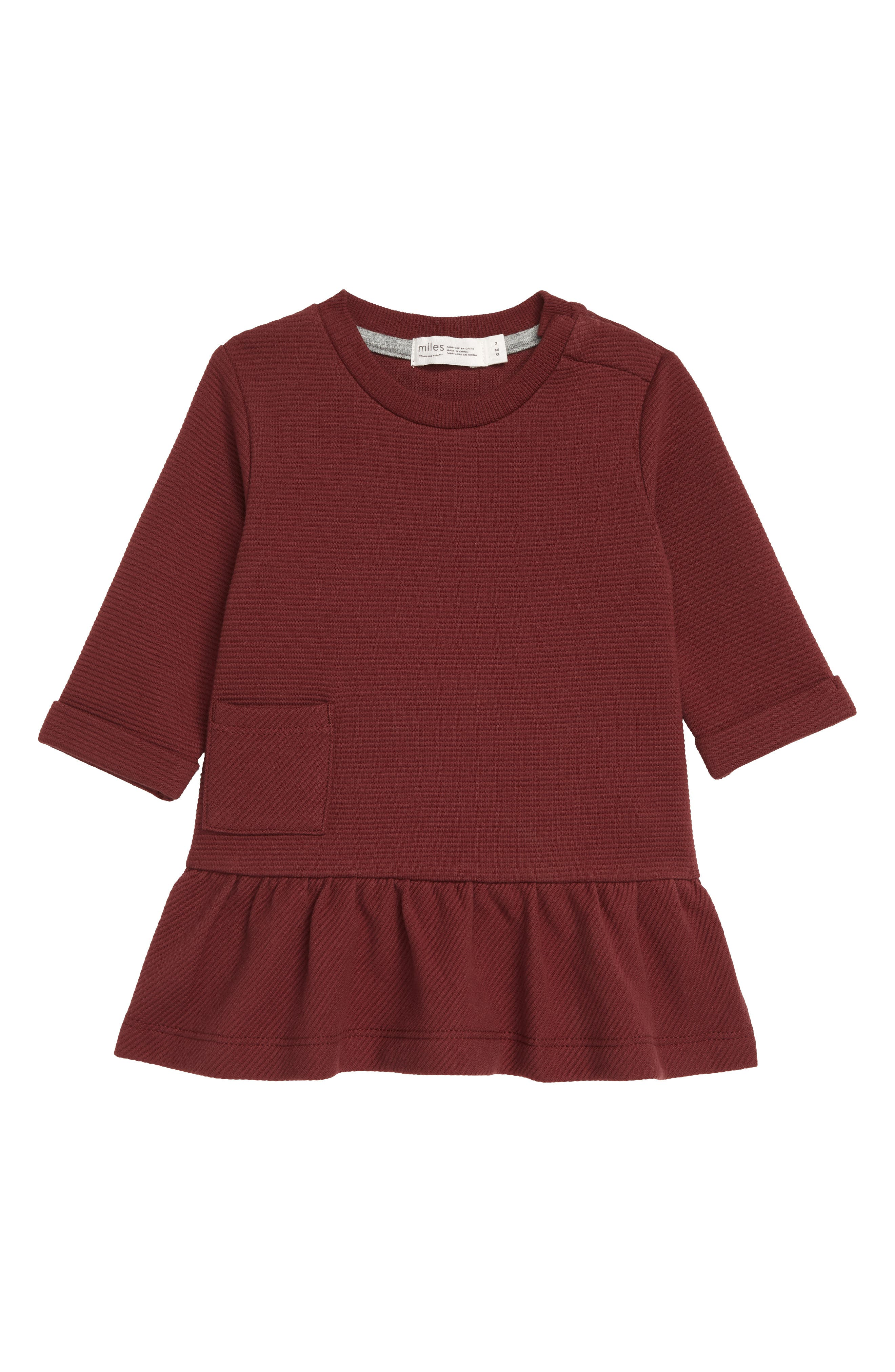 Your little one will look extra sweet in this ottoman knit dress with long sleeves and a ruffled hem. Style Name: Miles Knit Ruffle Hem Dress (Baby). Style Number: 6087367. Available in stores.