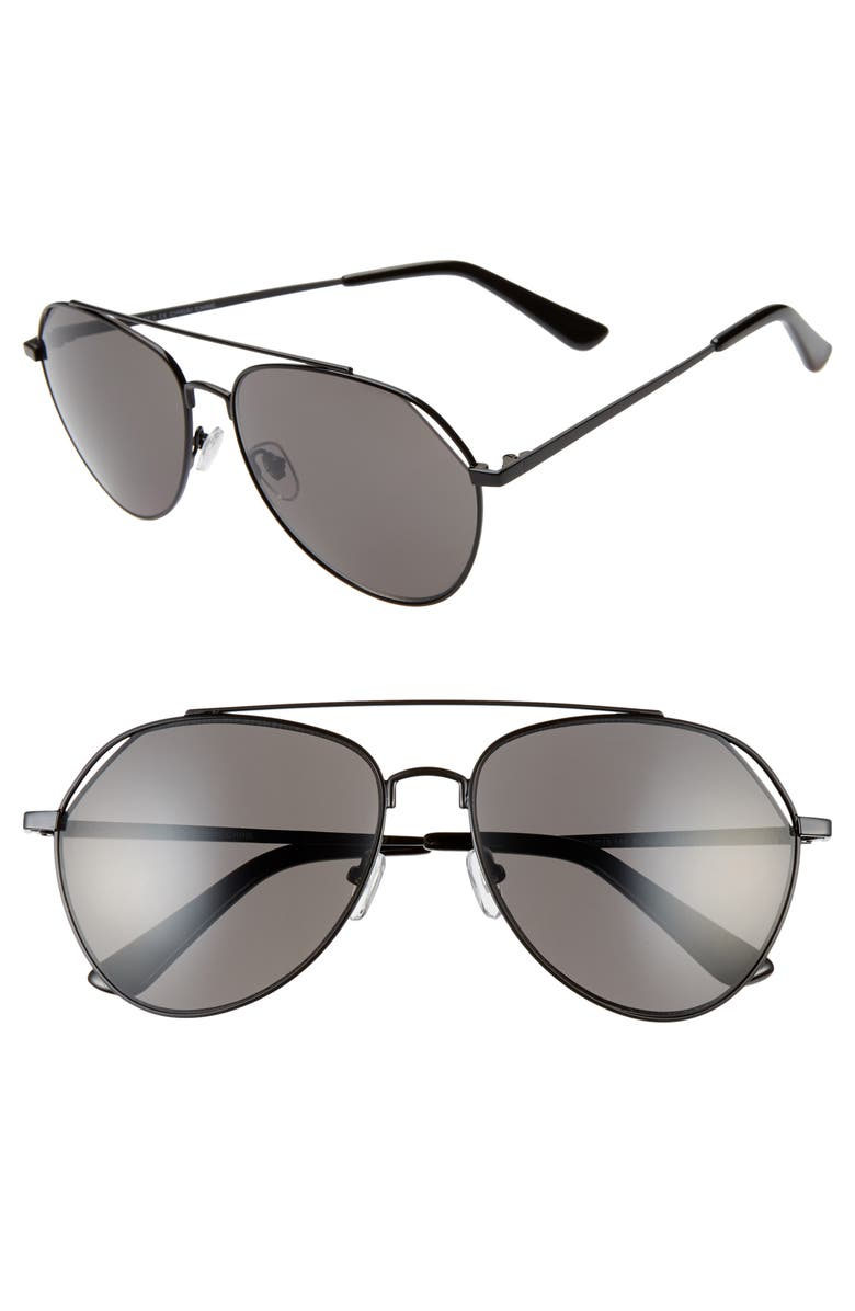 BP. Guzman 59mm Aviator Sunglasses, Main, color, BLACK/ GREY