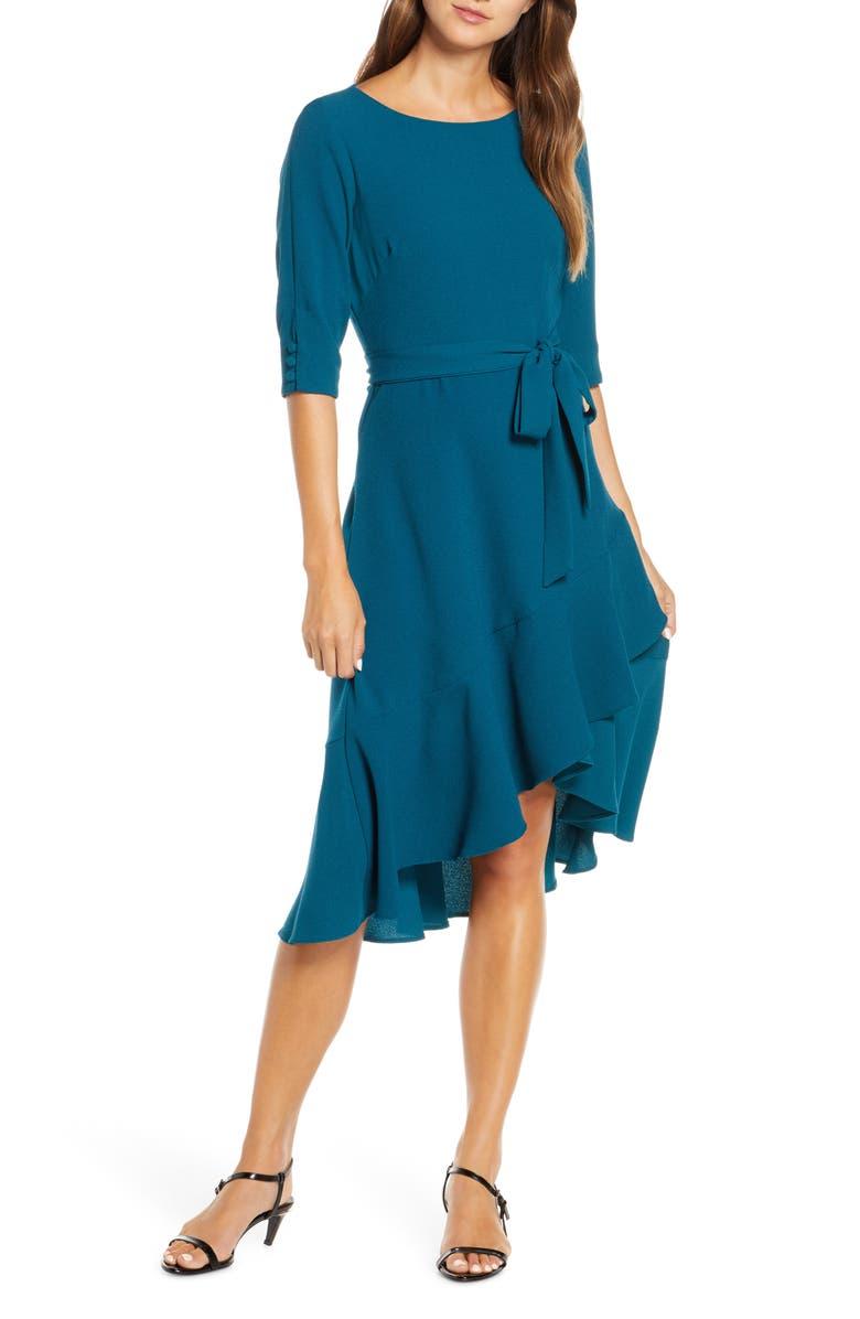 MAISON TARA Ruffle Hem High/Low Crepe Dress, Main, color, TEAL
