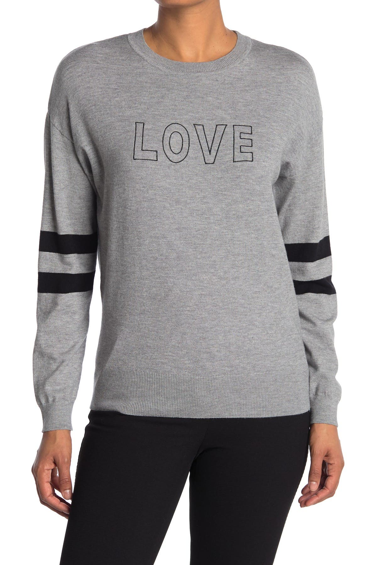 Image of Philosophy Apparel Love Striped Sleeve Crew Neck Sweater
