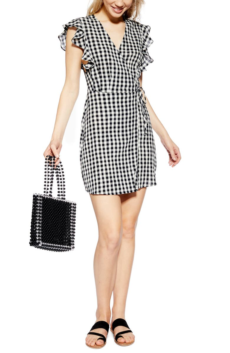 TOPSHOP Gingham Ruffle Wrap Dress, Main, color, 002