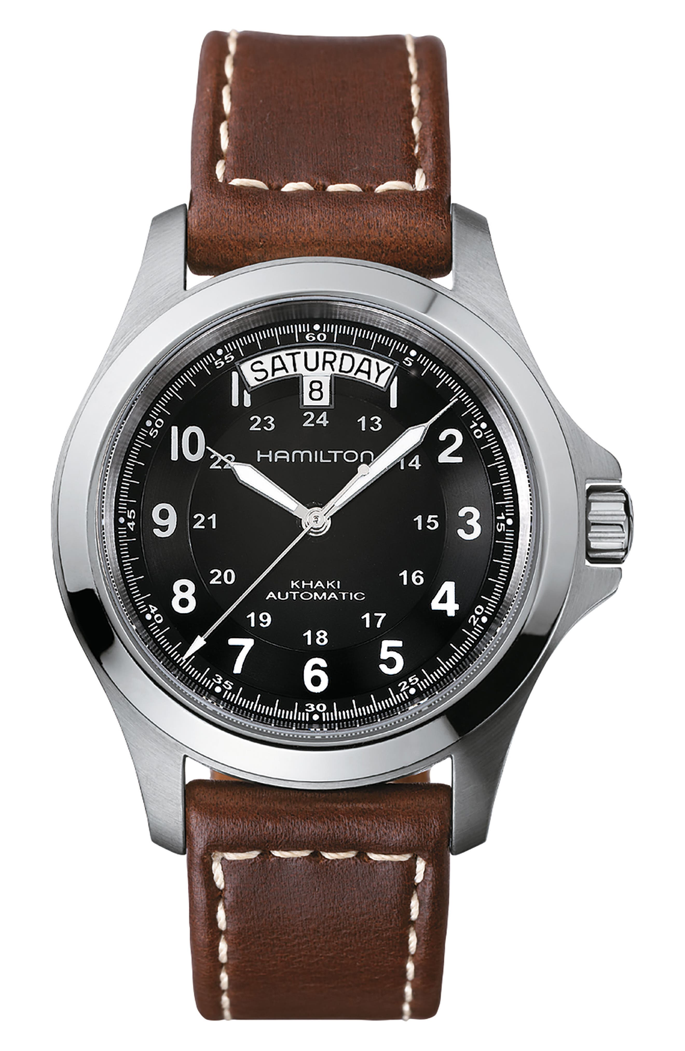 ,                             Khaki King Automatic Leather Strap Watch, 40mm,                             Main thumbnail 1, color,                             BROWN/ BLACK/ SILVER