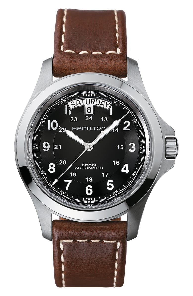 HAMILTON Khaki King Automatic Leather Strap Watch, 40mm, Main, color, BROWN/ BLACK/ SILVER