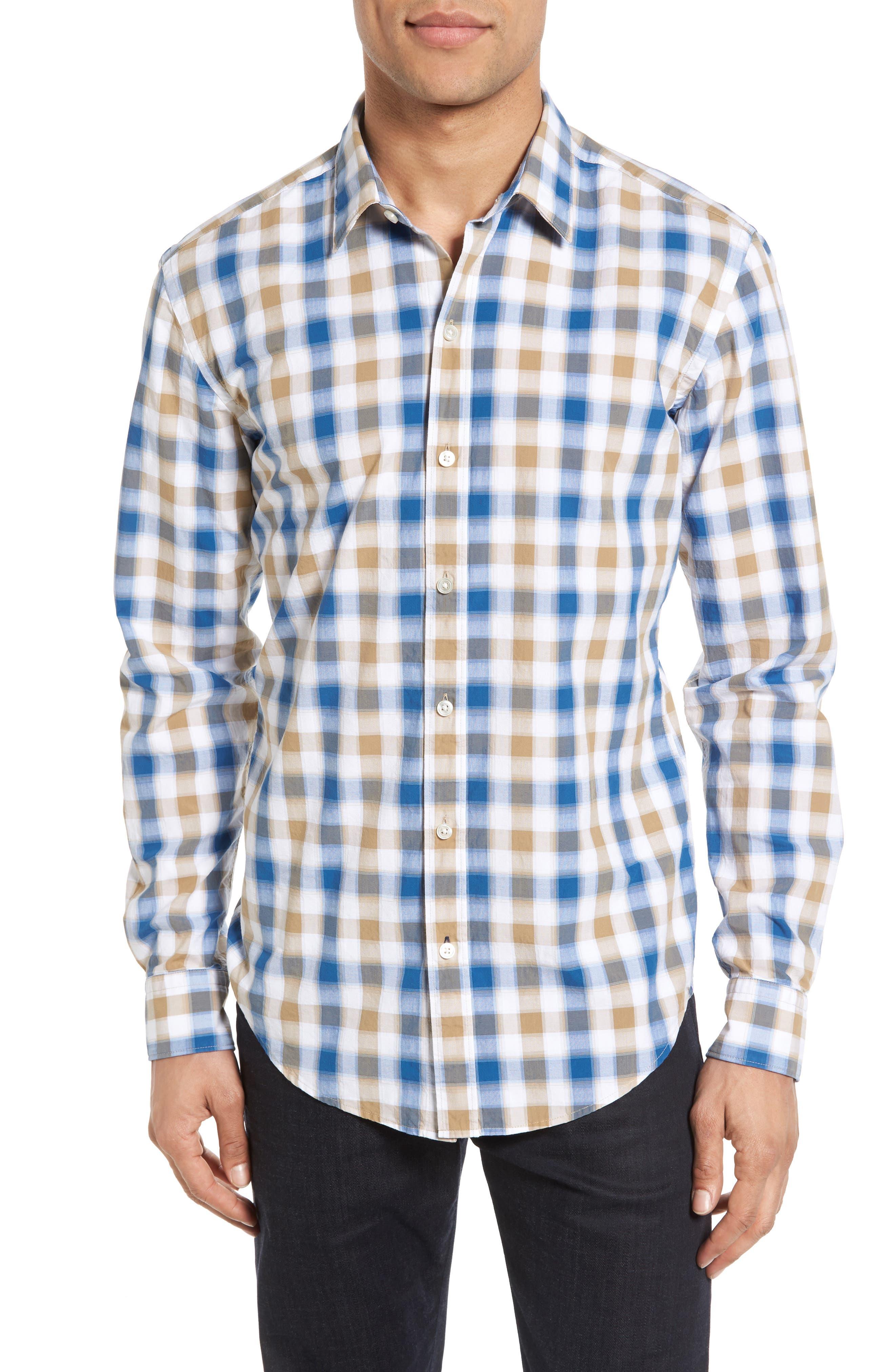 Image of BOSS Robbie Sharp Extra Trim Fit Check Sport Shirt