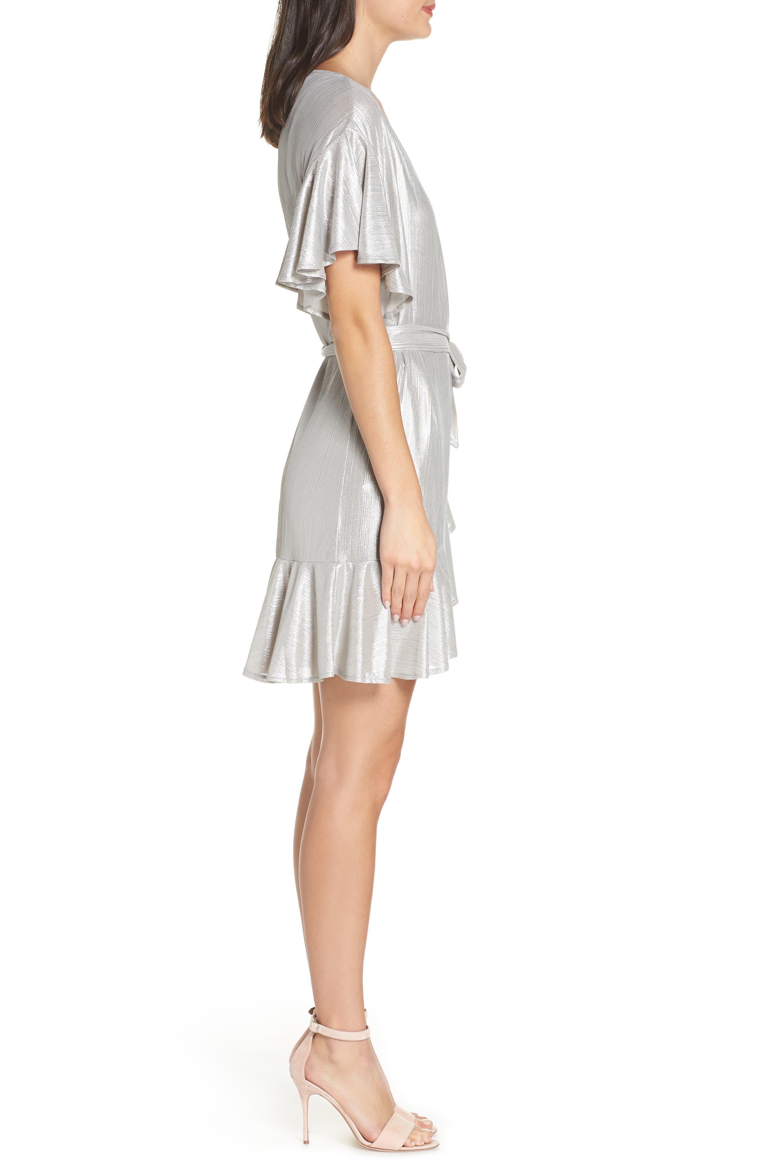 ,                             Metallic Ruffle Wrap Dress,                             Alternate thumbnail 4, color,                             SILVER