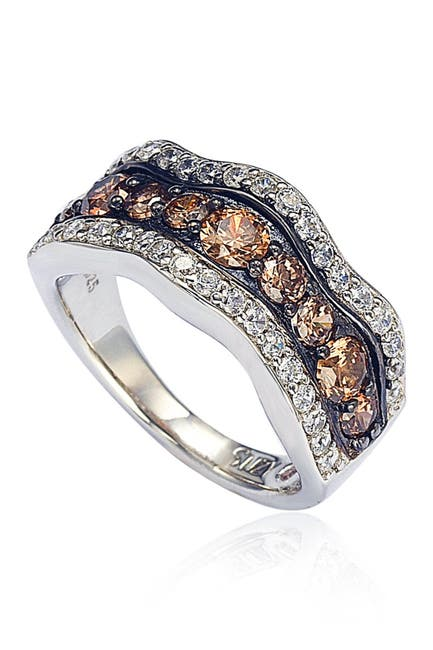 Image of Suzy Levian Sterling Silver Brown & White CZ Wave Ring