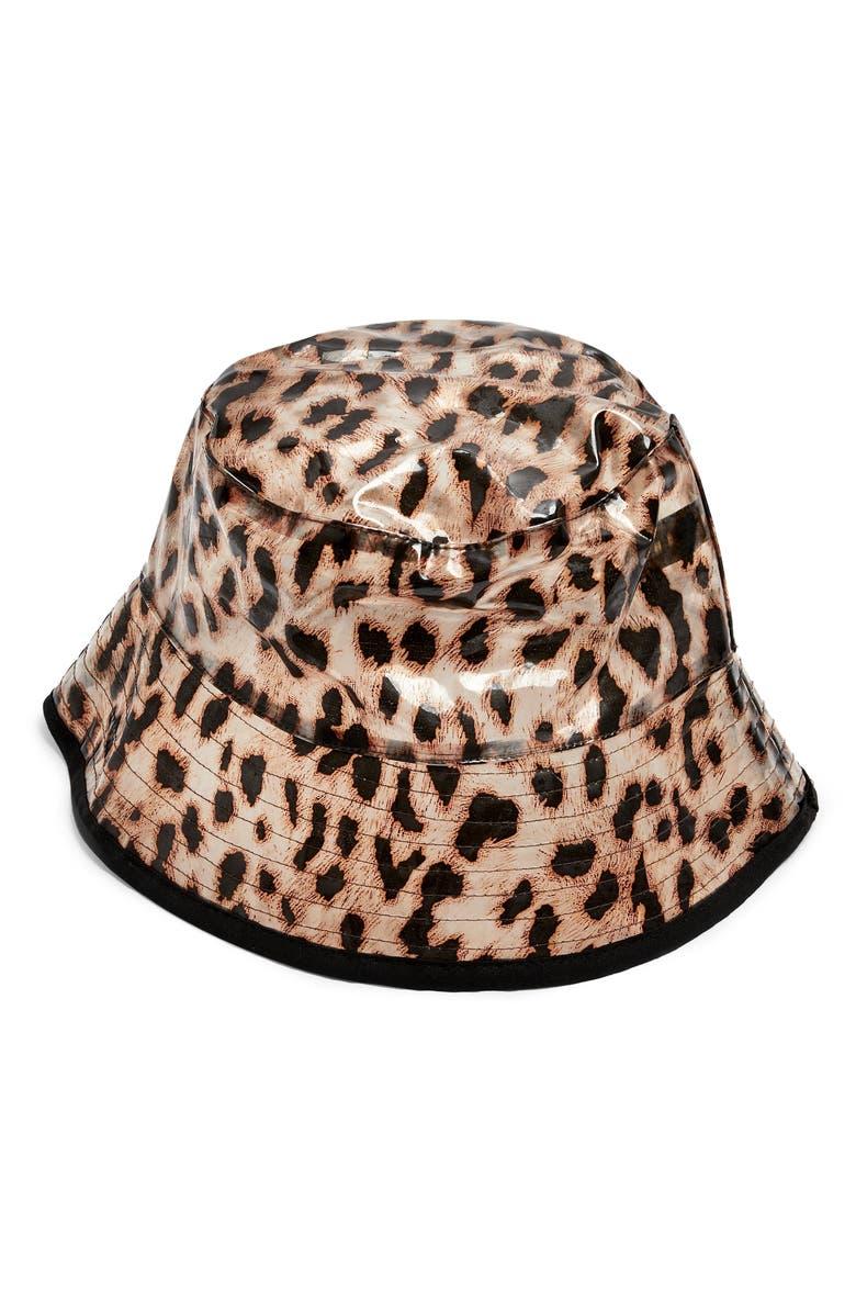 TOPSHOP Leopard Bucket Hat, Main, color, 211