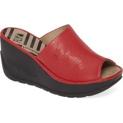Fly London Javi Slide Sandal - Red