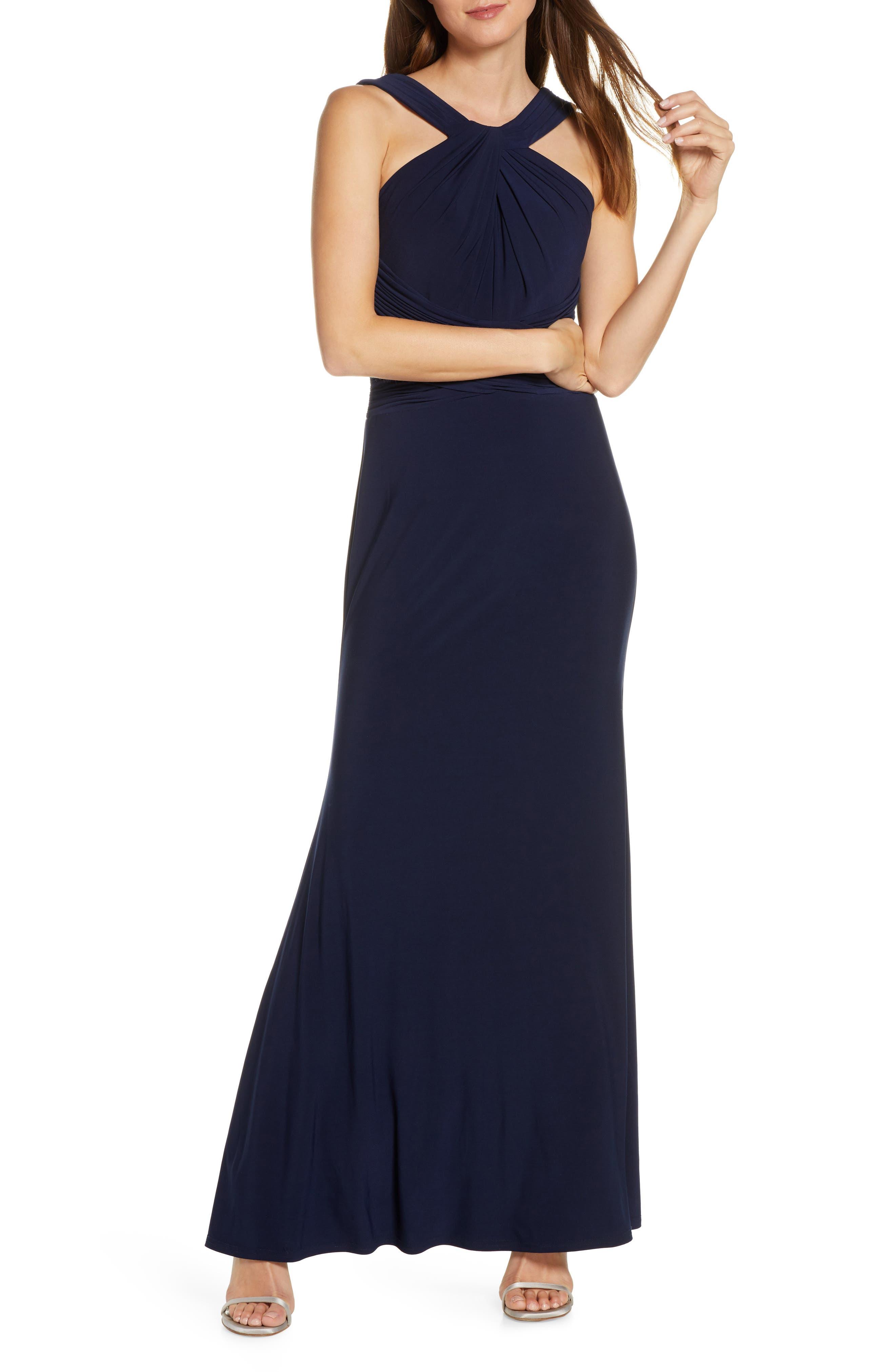 Petite Eliza J Shirred Halter Neck Gown, Blue