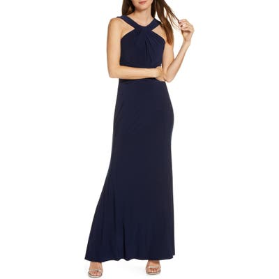 Petite Eliza J Shirred Halter Neck Gown, Blue