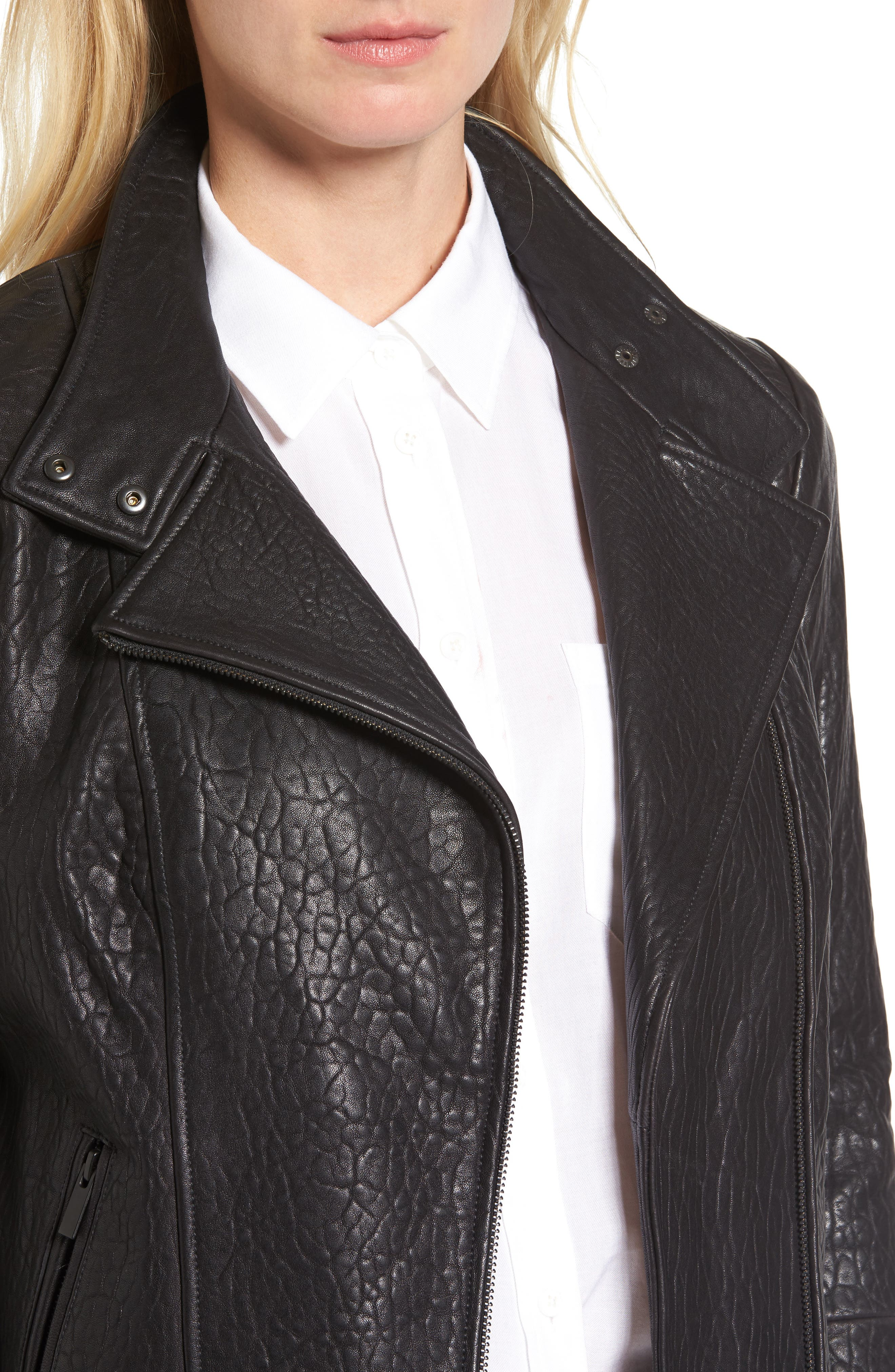 ,                             Leather Jacket,                             Alternate thumbnail 4, color,                             001