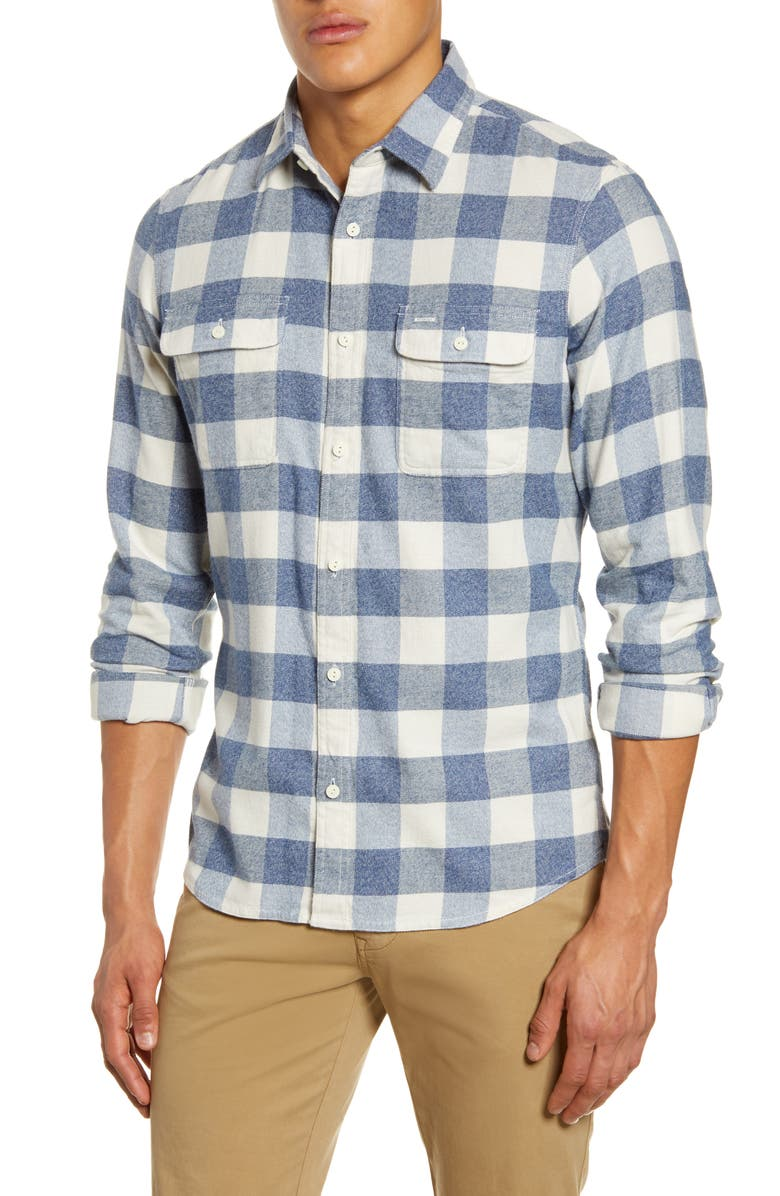 1901 Trucker Slim Fit Buffalo Check Button-Up Flannel Shirt, Main, color, IVORY BLUE JASPE BUFFALO