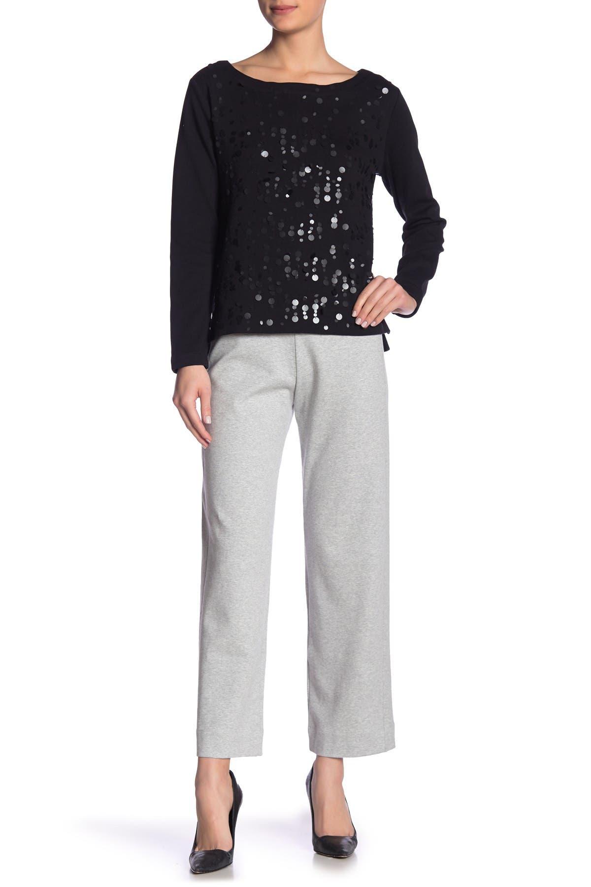 Image of Joan Vass Stretch Knit Ankle Pants