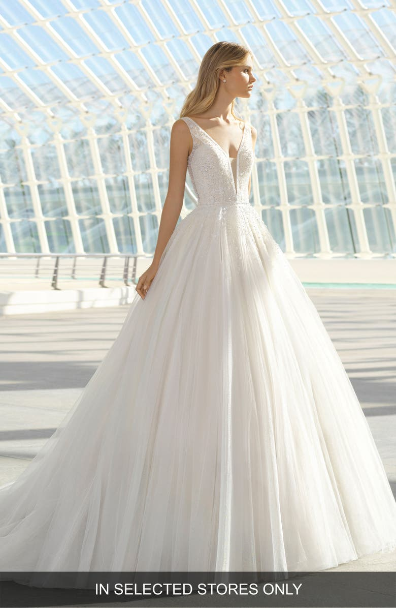 ROSA CLARÁ Dillan Beaded Tulle Gown, Main, color, IVORY