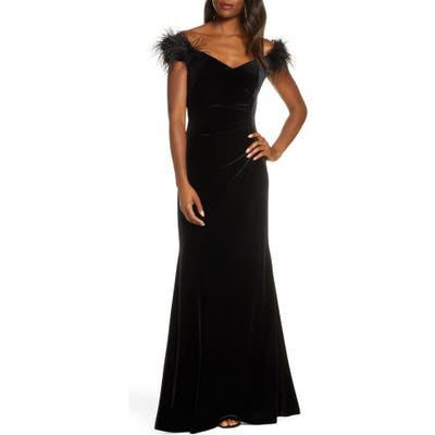 Petite Eliza J Feather Detail Velvet Mermaid Evening Gown, Black