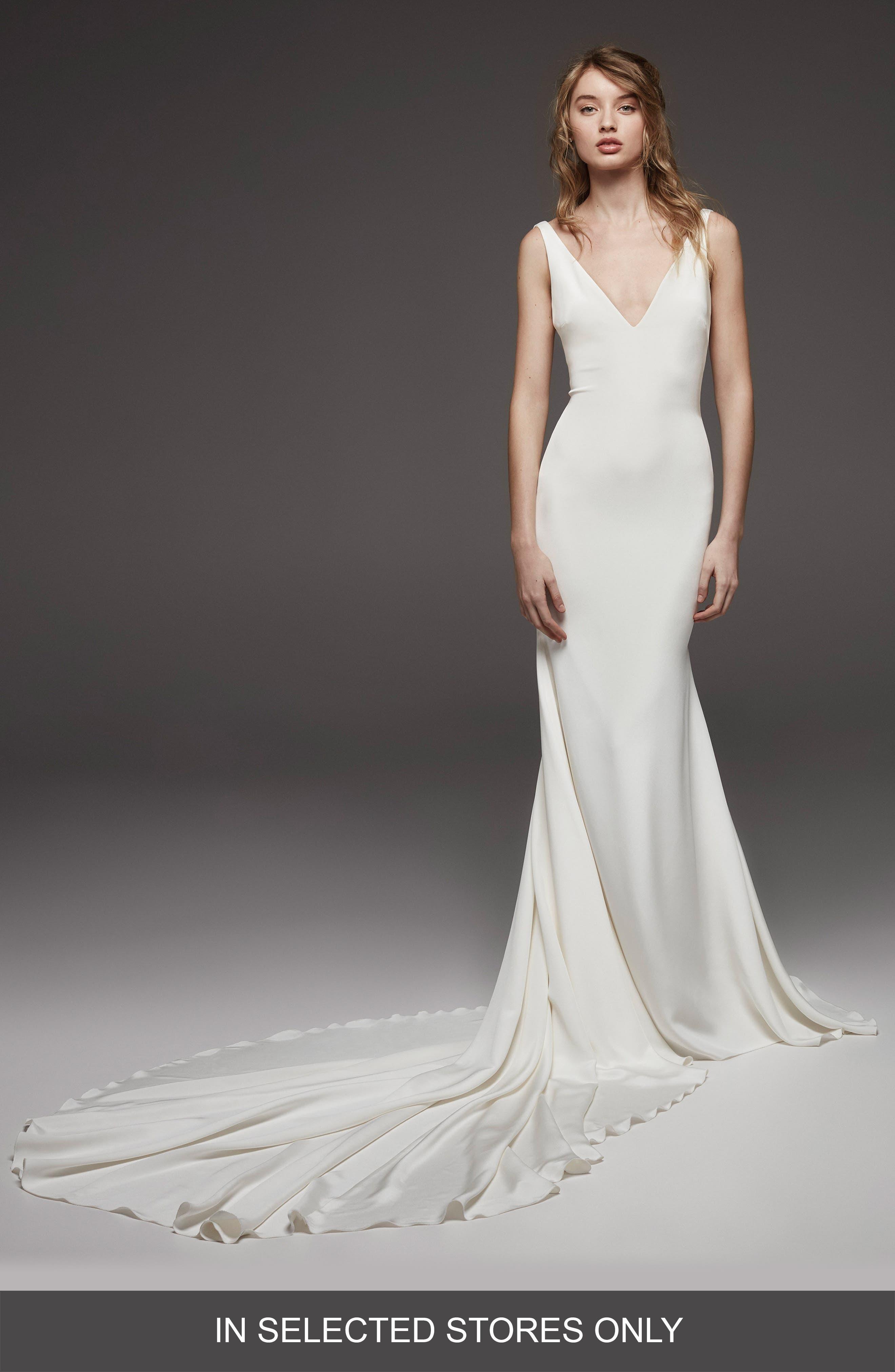 Atelier Pronovias Hispalis Crepe Cowl Back Gown, Size - Ivory