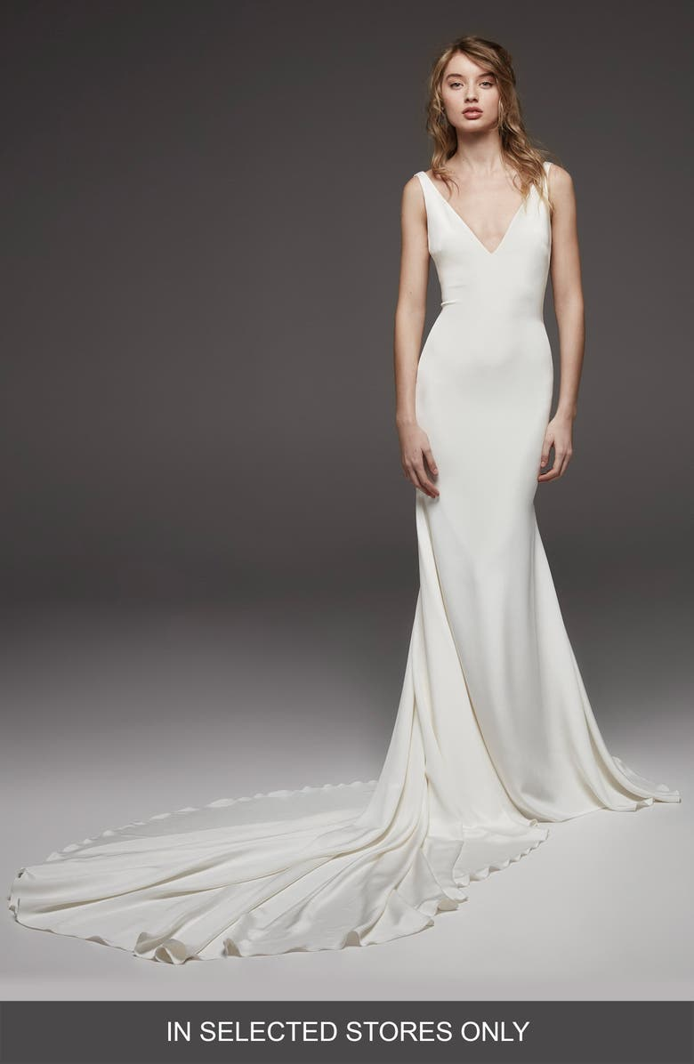 ATELIER PRONOVIAS Hispalis Crepe Cowl Back Gown, Main, color, OFF WHITE
