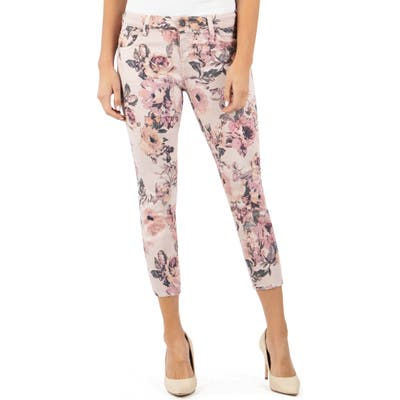 Kut From The Kloth Connie Floral Print Crop Skinny Jeans, Pink