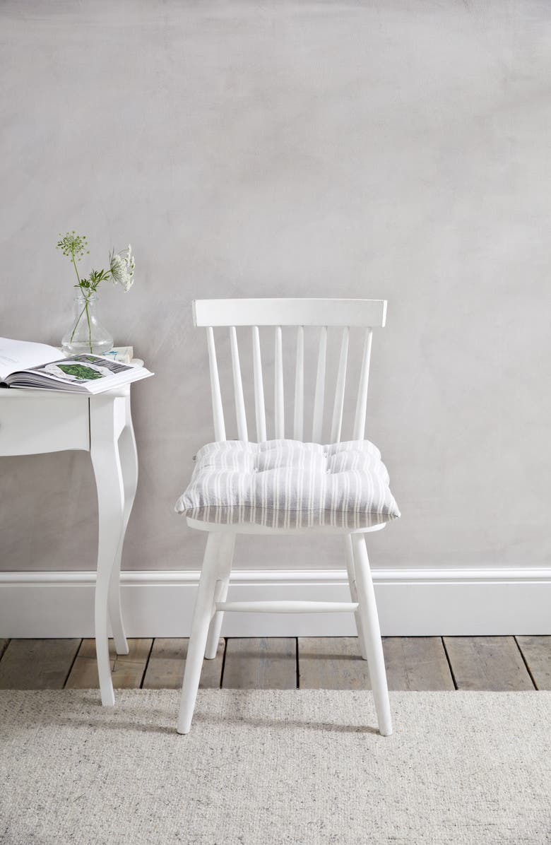 THE WHITE COMPANY Stripe Linen Tufted Seat Pad, Main, color, 020