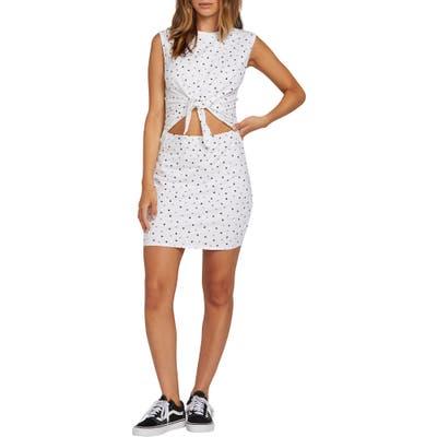 Volcom Last Drink Cutout Tie Waist Minidress, White