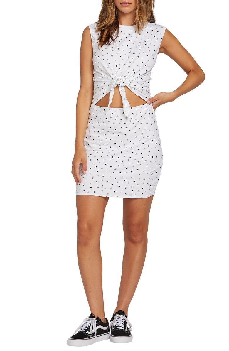 VOLCOM Last Drink Cutout Tie Waist Minidress, Main, color, WHITE COMBO