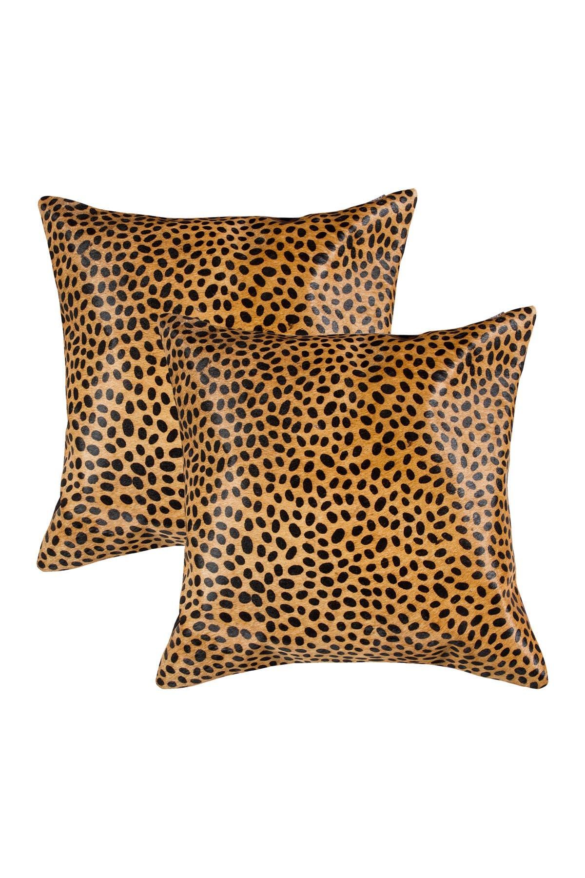 "Image of Natural 2-Pack Torino Togo Genuine Cowhide Pillow 18"" x 18"" - Cheetah"