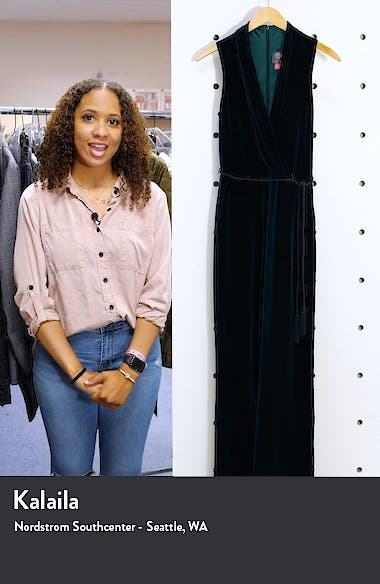 Vince Caputo Surplice Sleeveless Velvet Jumpsuit, sales video thumbnail
