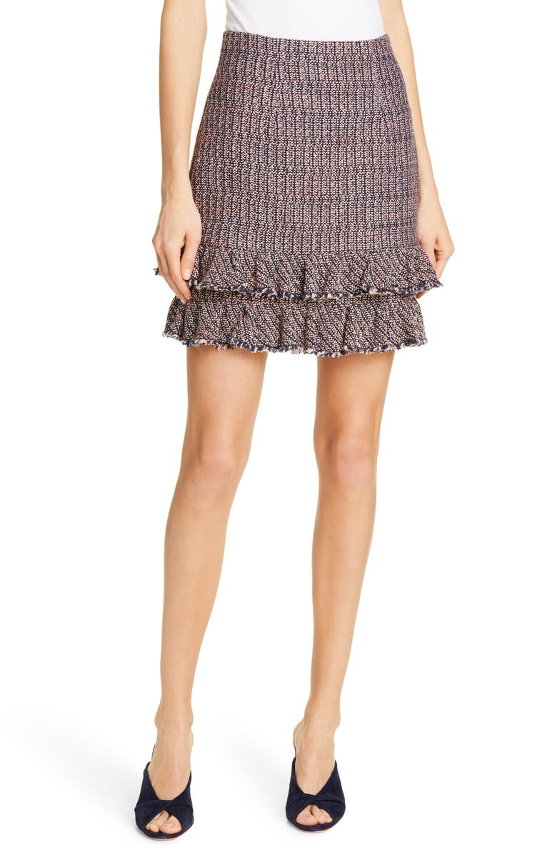 REBECCA TAYLOR Ruffle Hem Tweed Miniskirt, Main, color, 650
