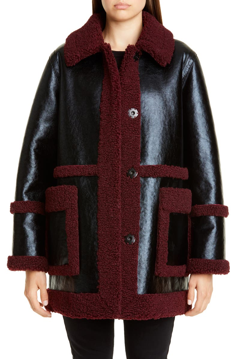 STAND STUDIO Haley Colorblock Faux Shearling Coat, Main, color, BLACK/ BURGUNDY