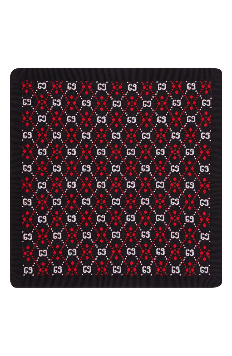 GUCCI Logo Pattern Cotton & Wool Blanket, Main, color, 018