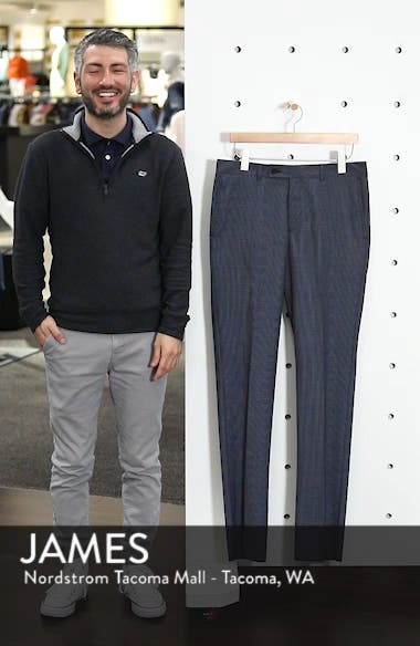 Slim Fit Flat Front Houndstooth Wool Trousers, sales video thumbnail