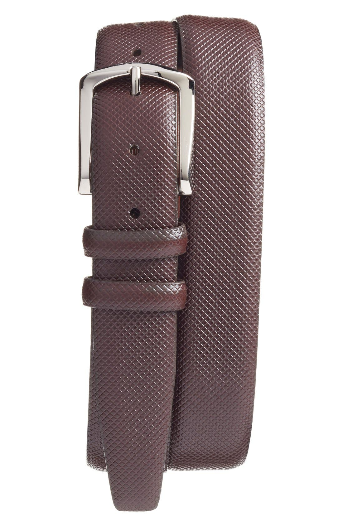 Fine diamond embossing textures a handsome belt crafted in rich bulgaro calfskin leather and secured with a polished nickel buckle. Style Name: Torino Bulgaro Calfskin Leather Belt. Style Number: 5165881. Available in stores.