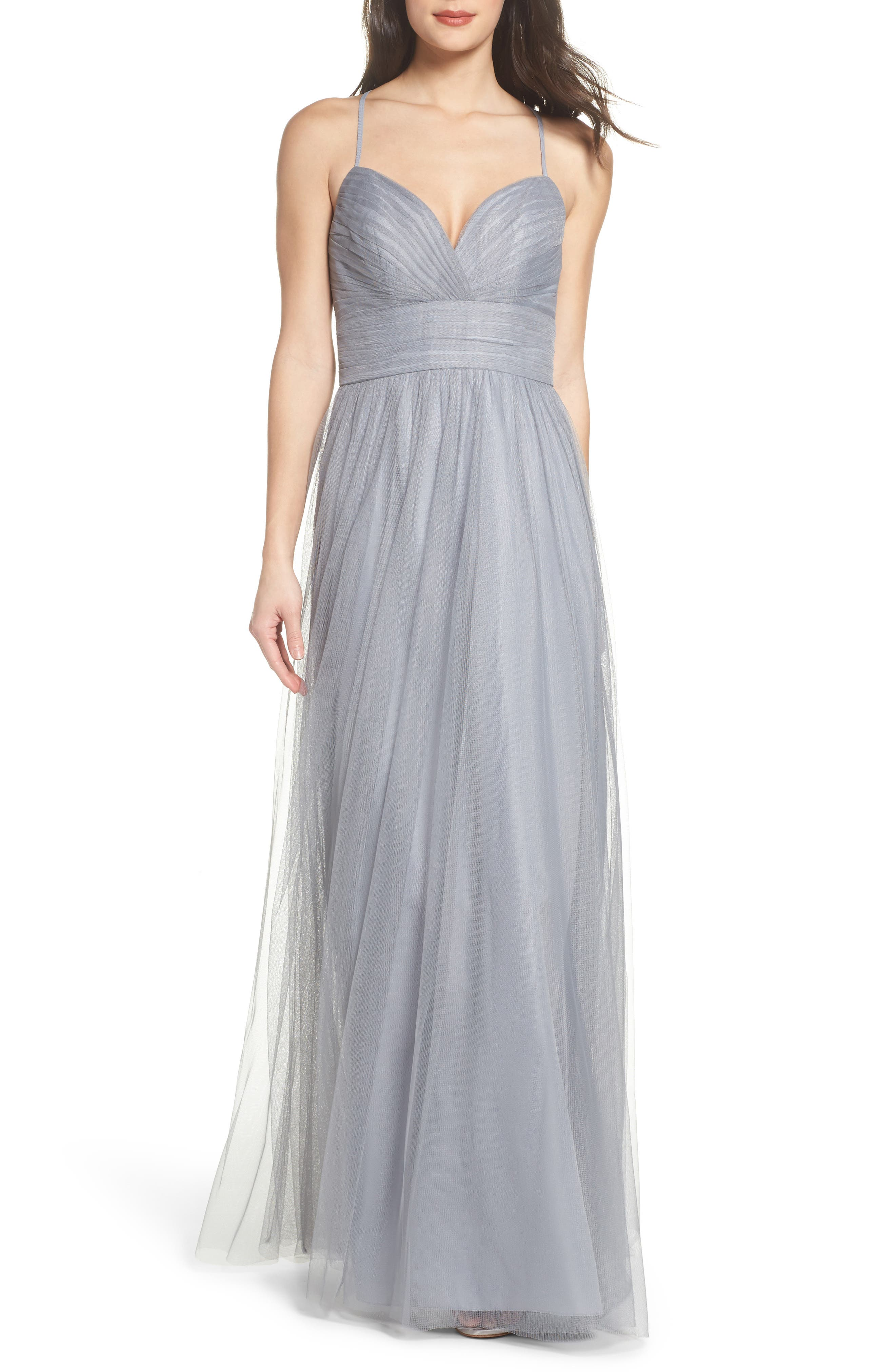 Hayley Paige Occasions English Net Gown, Grey