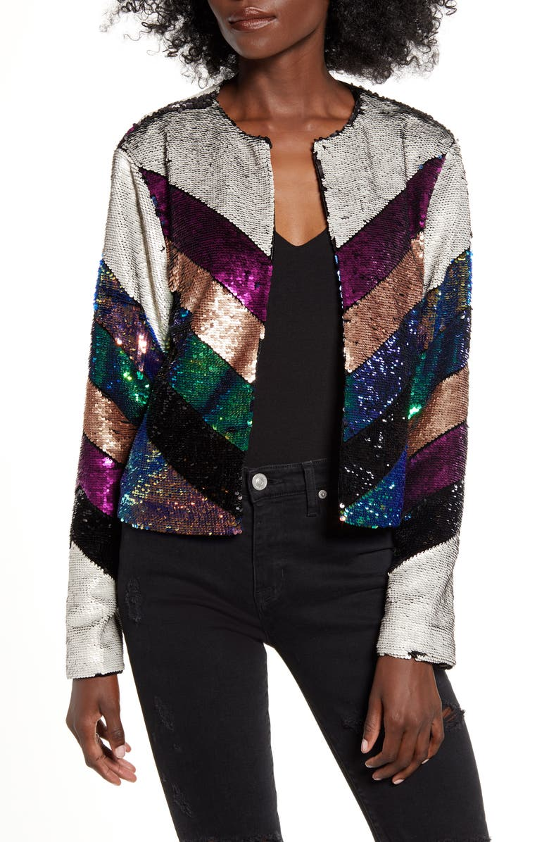 BLANKNYC Guest List Sequin Colorblock Jacket, Main, color, GUEST LIST