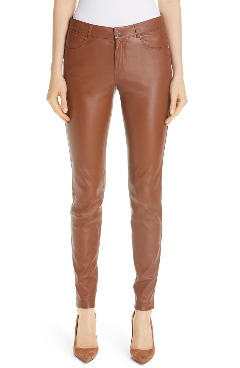 LAFAYETTE 148 NEW YORK Mercer Nappa Leather Pants, Main, color, 200
