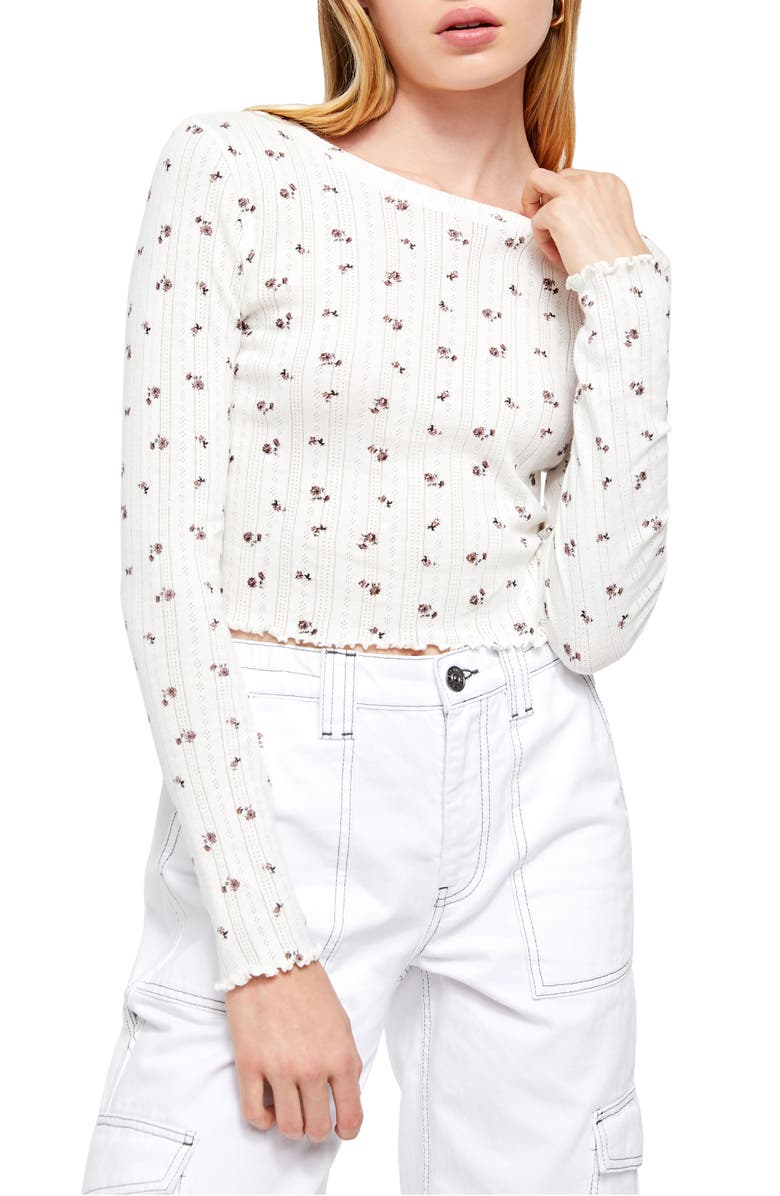 BDG URBAN OUTFITTERS Ditsy Pointelle Crop Top, Main, color, 900
