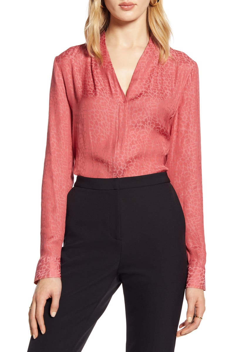 HALOGEN<SUP>®</SUP> Cheetah Jacquard Satin Blouse, Main, color, RUST LEOPARD JACQUARD