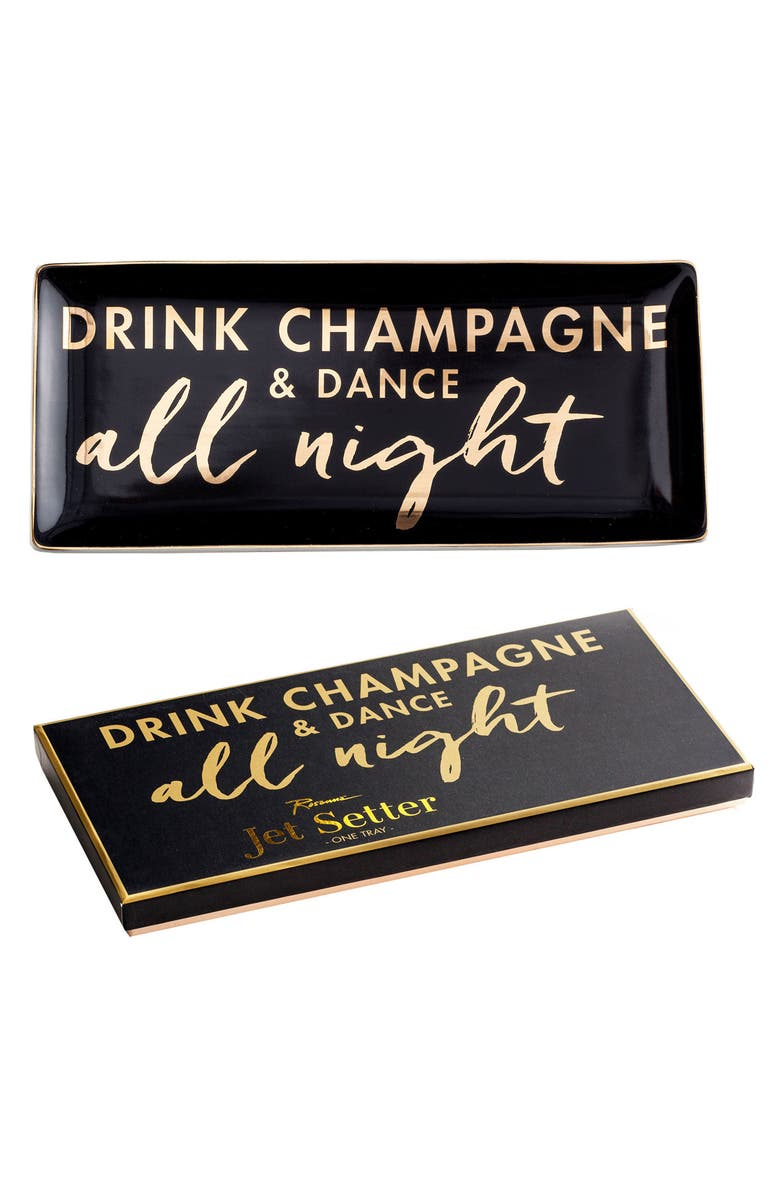ROSANNA Drink Champagne & Dance All Night Porcelain Trinket Tray, Main, color, 001